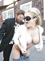 Crista Moore flashing her goodies to horny passers